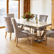 dining room chairs with wheels. Dining Table And Chairs Renata Marble Chrome 6 Silver Louis XSLQZRZ Room With Wheels