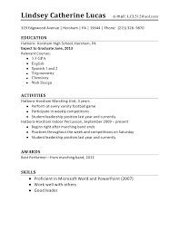 Resume For High School Student First Job