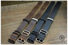 brown select heure nato zulu leather watch strap pvd buckles black