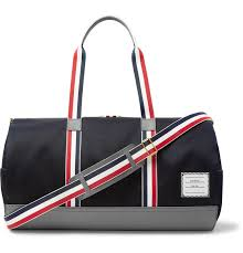 thom browne full grain leather and webbing trimmed twill duffle bag