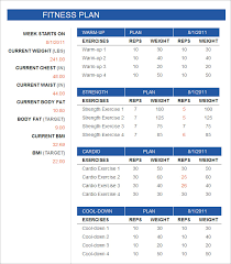 free fitness schedule template