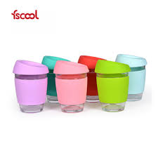 Superior Fscool Custom Logo Reusable Glass Coffee Cup With Silicone Sleeve And Lid