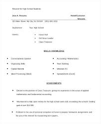Resume Samples For High School Students Applying To College High