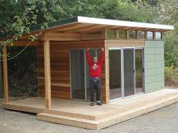 backyard office prefab. this vashon island client works from home at his modernshed office with a backyard prefab t