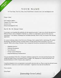 How To Write A Cover Letter For A Resume Simple Internship Cover Letter Sample Resume Genius