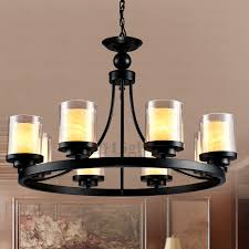 cool iron candle chandelier on vintage 8 light glass shade pillar