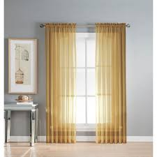 Window Elements Sheer Gold Solid Voile Extra Wide Sheer Rod Pocket Curtain  Panel 54 In