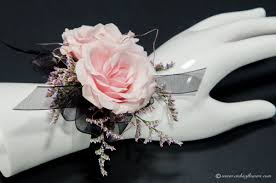prom 039 30 plus tax and delivery pink and black wrist corsage with pink garden roses pink limonium black ribbon and silver pink wire