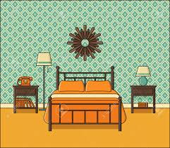 retro home furniture. Bedroom Interior. Vector. Hotel Room In Flat Design. Retro Home Space With Bed Furniture