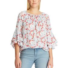 Chaps Dress Size Chart Womens Chaps Floral Tiered Sleeve Top In 2019 Womens Size