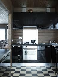 Great Küche Hochglanz Fliesen Schachbrettmuster Holzverkleidung Wand