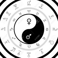 Zodiac Circle Chart Yin Yang Oriental Sacral Symbol With Mars And Venus Astrological