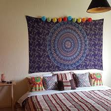 twin blue boho chic style outdoor indoor mandala bohemian tapestry wall hanging