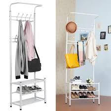Metal Entryway Bench With Coat Rack New100 Hooks Metal Entryway Hall Tree Storage White Coat Rack 24