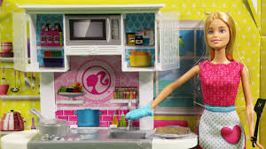 Barbie Kitchen Furniture Barbie Doll And Kitchen Furniture Set Cfb62 Md Toys Youtube