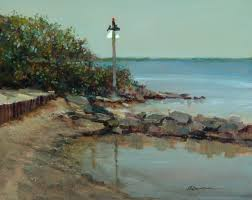 this plein air piece was painted on the west coast of florida overlooking clearwater bay the distant island is caladesi island which has a beautiful state