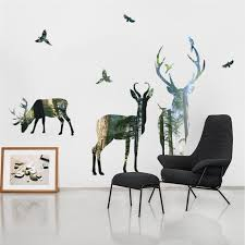 forest deer wall stickers living room office bedroom decorations 3d effect wall decals pvc mural art diy poster