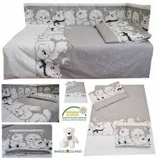 details about grey nursery baby cot cot bed toddler bed bedding set curtains polar bears