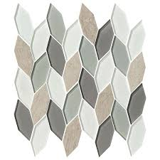 allure collection 12 x12 glass and stone mosaic tile blue heron hex leaves