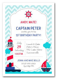 kids birthday party invitations nautical kid birthday invitations
