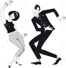 Mod Couple Dressed In Early 1960s Fashion Dancing The Twist