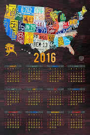2016 mixed media 2016 calendar license plate map of the usa recycled wall art by on license plate map wall art with 2016 calendar license plate map of the usa recycled wall art mixed