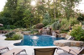 Interesting Backyard Pools With Waterfalls Slides And On Design