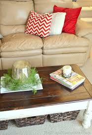 create storage under coffee tables or end tables with baskets or bins