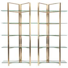 nuevo elton 5 shelf glass bookcase in gold