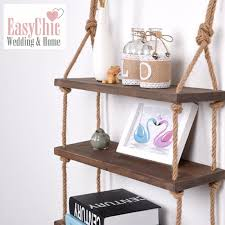 details about solid wood wall shelf storage floating wall shelf rustic industrial rope shelf