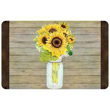 August Grove® Twila Mason Jar Sunflowers Kitchen Mat & Reviews   Wayfair