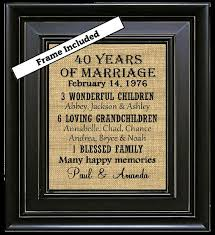 personalized 40th wedding anniversary 40th anniversary gifts 40th wedding anniversary gifts 40 years of marriage burlap wall art subway art