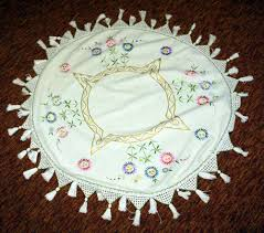 4ft round linen embroidered table cloth tassles