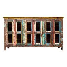 reclaimed wood sideboard six glass door