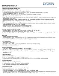 First Paragraph Of Cover Letter Cover Letter Checklist University Of Memphis