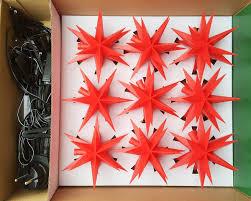 Led Lichterkette Mit 9 Stern Rot ø12cm Außen Weihnachtsstern Außenstern 13m