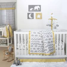 the peanut shell 4 piece baby crib bedding set grey elephant and zig zag with yellow trim 100 cotton quilt dust ruffle fitted sheet
