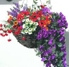 fake outdoor flowers artificial hanging baskets