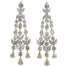yellow and white diamond chandelier earrings for