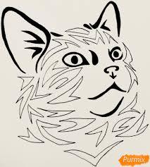 как нарисовать тату кошку поэтапно
