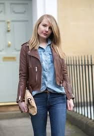 brown leather jacket all saints balfern