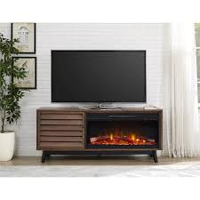 vaughn fireplace 60 in tv console in brown walnut