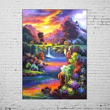 new oil paintings hand painted picture on canvas modern wall painting acrylic paintings illusion landscape hang