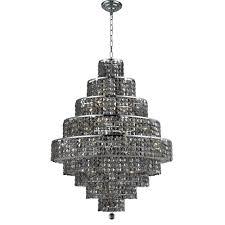 elegant lighting 20 light chrome chandelier with silver shade grey crystal