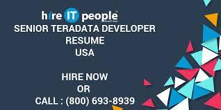 Senior Teradata Developer Resume Hire IT People We Get IT Done Beauteous Teradata Etl Developer Resume
