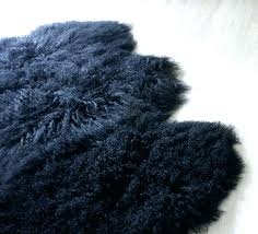 mongolian sheepskin rug fur black floor area