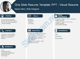 Visual Resume Templates Stunning One Slide Resume Template Ppt Visual Resume PowerPoint Templates