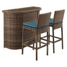 Crosley Bradenton 3 Piece Outdoor Wicker Bar Set  Bar U0026 Two Outdoor Wicker Bar Furniture