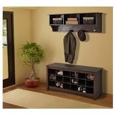 Dark Wood Coat Rack Modern Entryway Room with Entryway Shoe Cubby Storage Bench Dark 50