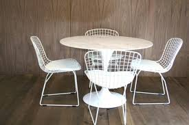 marble saarinen style tulip dining table and bertoia style wire back chair set white table plus 4 chairs set